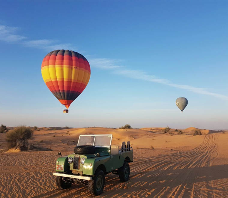 Hot Air Balloon with Land Rovers